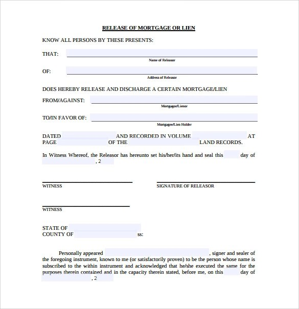 Release of Mortgage Form - 9+ Download Documents in PDF - release of lien form