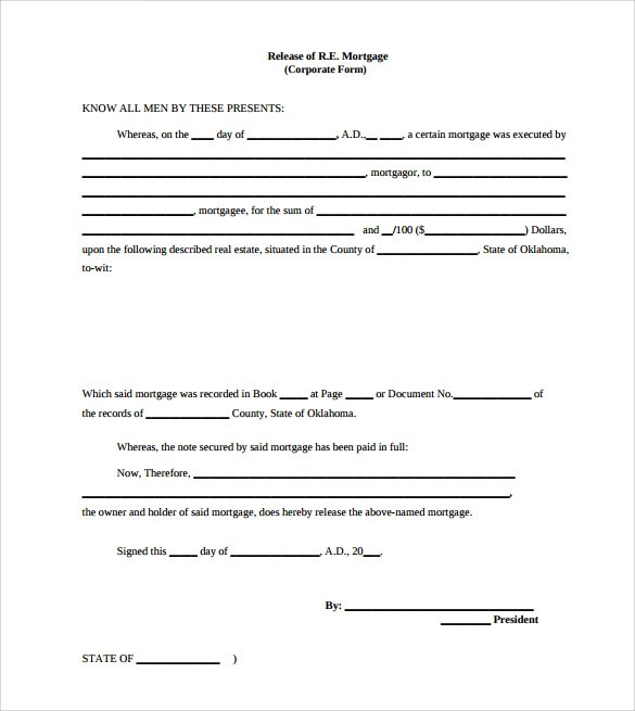 10 Release of Mortgage Form Templates to Download Sample Templates