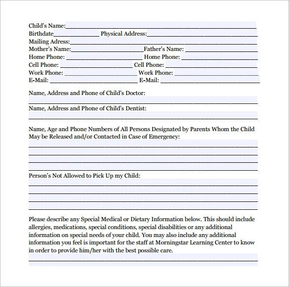 Sample Emergency Release Form - 12+ Download Free Documents in PDF, Word