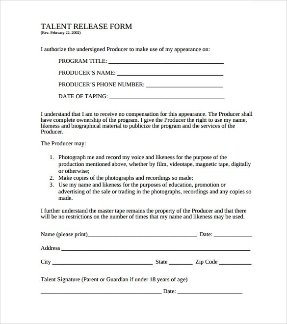 Release Forms For Video Interviews – Video Release Forms