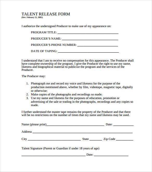 talent release form template - Honghankk - Talent Release Form Template