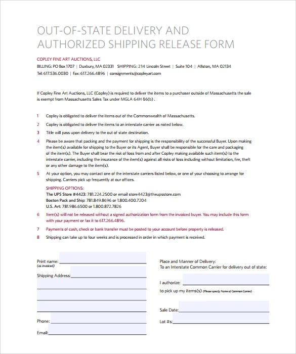 10 UPS Signature Release Form Templates to Download Sample Templates - shipping form templates