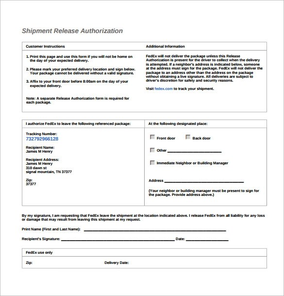 Signature Release Form Ups | Nursing Job Offer Letter Sample