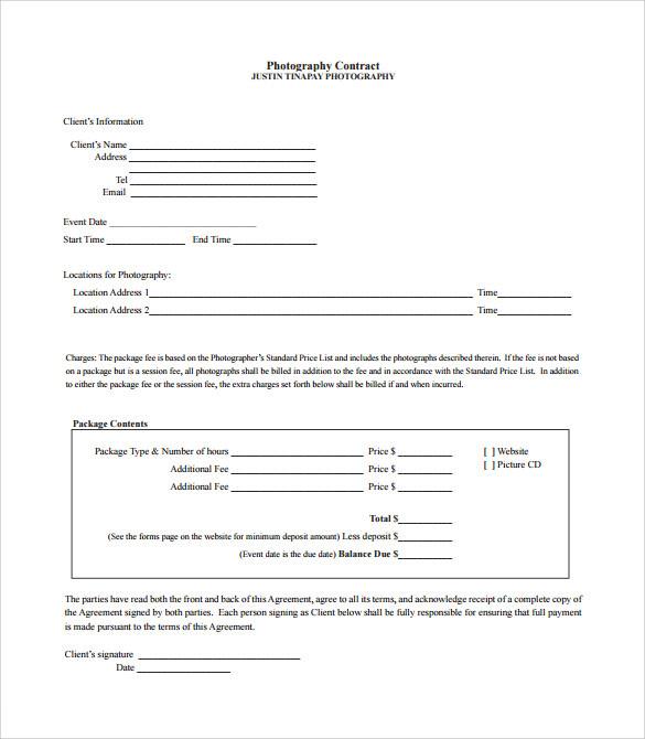 Wedding Contract Templates colbro