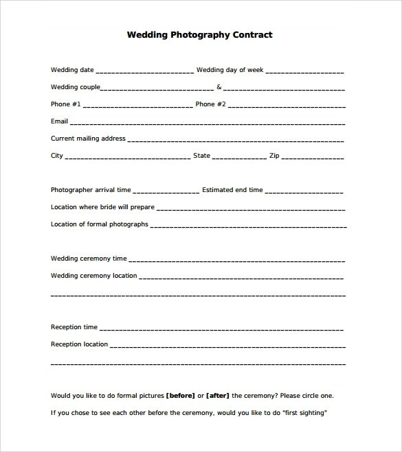 21+ Wedding Contract Samples Sample Templates - free printable contract forms