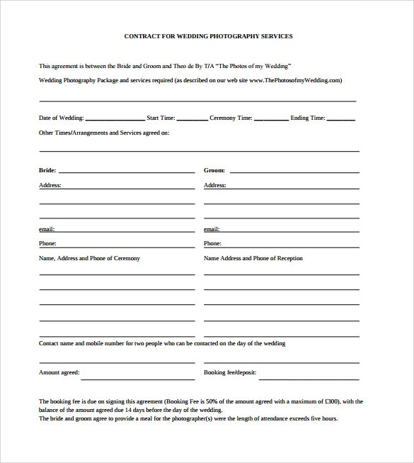 Sample Wedding Contract - 14+ Documents In PDF, Word - photography services contract