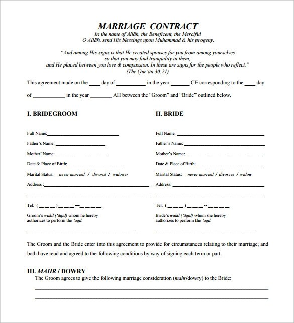 Sample Wedding Contract - 14+ Documents In PDF, Word - wedding contract template