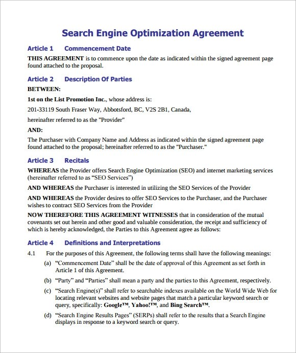 10+ Seo Contract Samples Sample Templates - contract templates in pdf