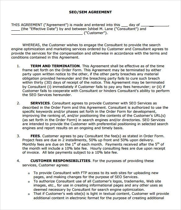 Sample Seo Contract - 10+ Documents in PDF