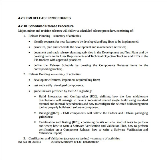 software release plan document - Minimfagency
