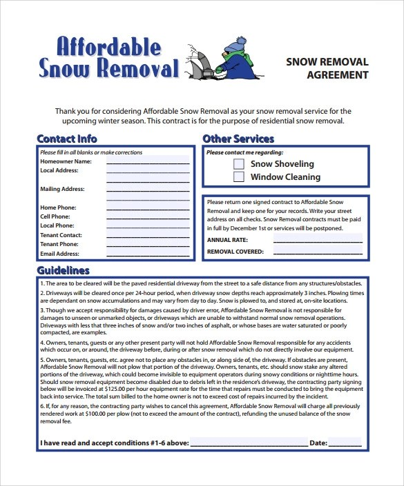 7 Snow Plowing Contract Templates to Download for Free Sample - free contract templates