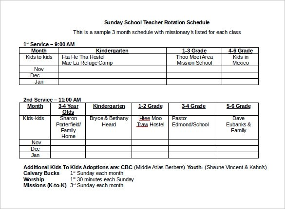 Sample Rotation Schedule Template - 15+ Free Documents in PDF, Word