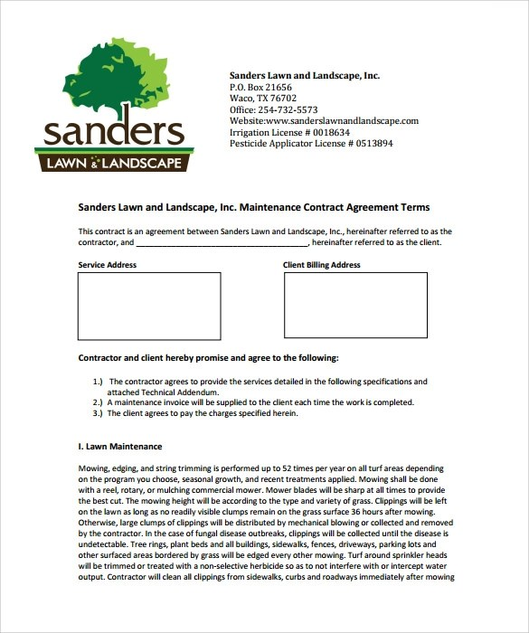 Lawn Service Contract Template - 10+ Download Documents in PDF