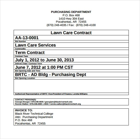 10 Lawn Service Contract Templates to Download for Free Sample