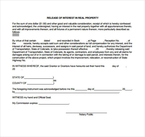 13 Release of Interest Form Templates to Download Sample Templates