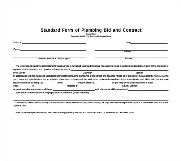 plumbing service contract template
