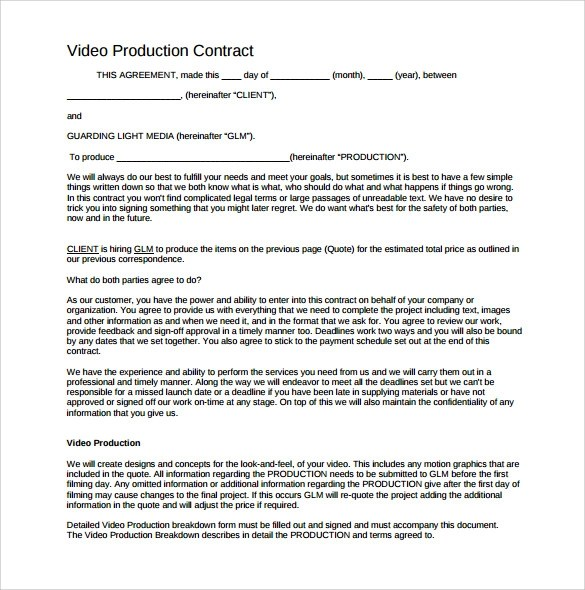 Videography Contract Template - 9+ Download Free Documents in PDF - videography contract template
