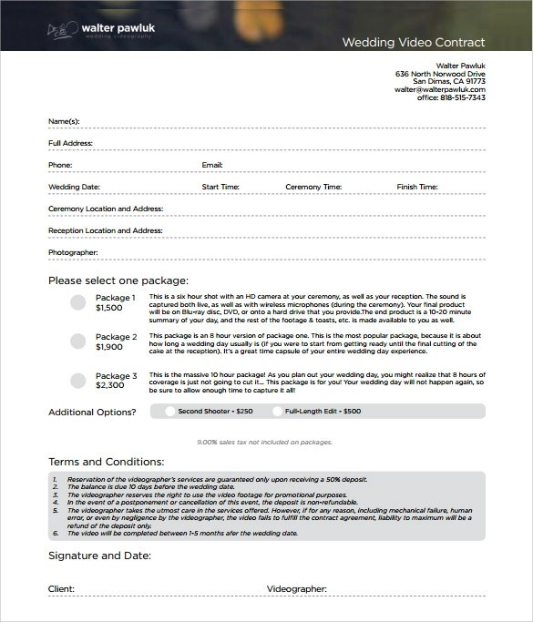 Sample Video Production Contract Template | Uk Standard Resume Format