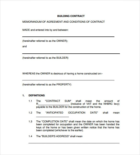 construction contract example resume pdf download