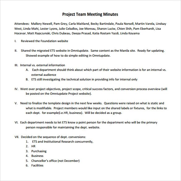 Sample Project Meeting Minutes Template - 13+ Documents in PDF, Word
