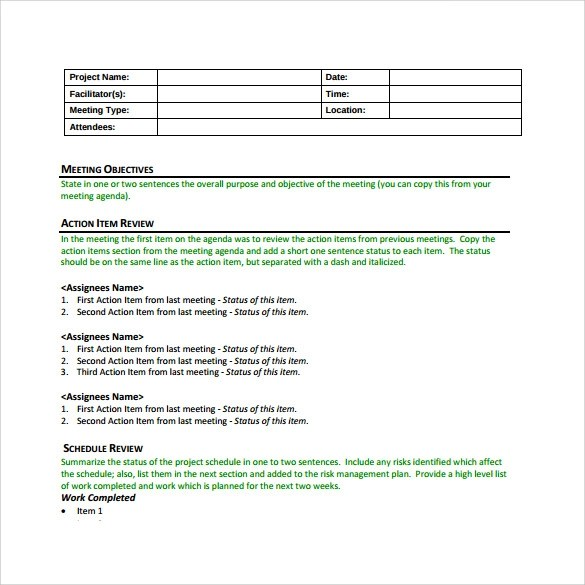 Sample Project Meeting Minutes Template - 9+ Free Documents in PDF - meetings template