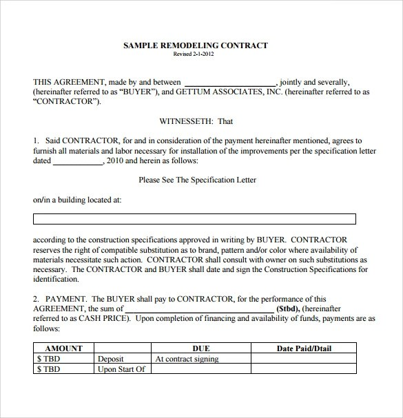 Renovation Contract Template - 8+ Download Documents in PDF - free construction contracts templates
