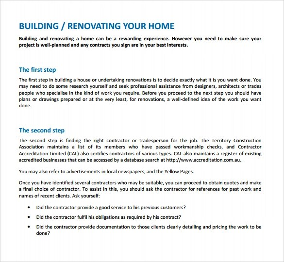 12+ Renovation Contract Templates - Word, Docs
