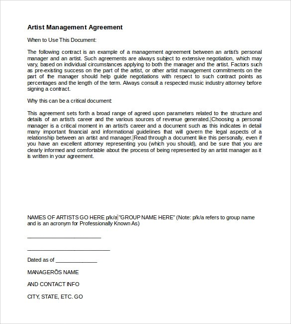 Example Artist Management Contract Template | Professional resumes ...