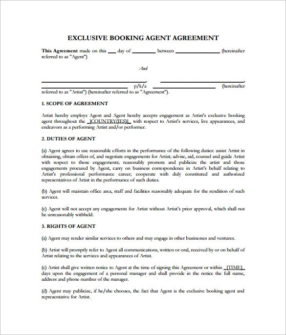Band Contract Template Example Contract Samplecontract Jpg 5+ - sample artist contract template