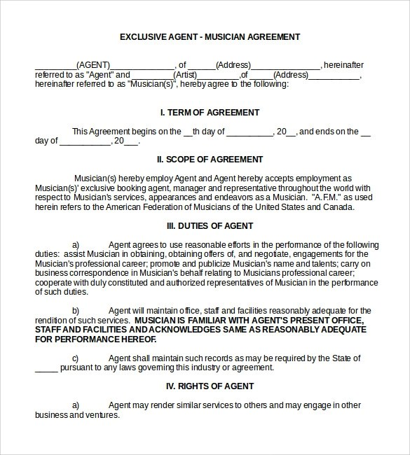 10 Booking Agent Contract Templates to Download Sample Templates - Booking Agent Contract Template