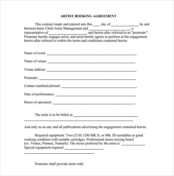 artist booking contract template - Ozilalmanoof - sample artist contract template