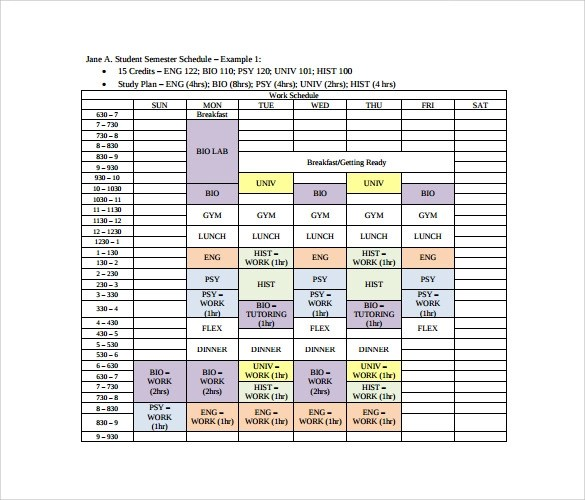 schedule samples - Josemulinohouse