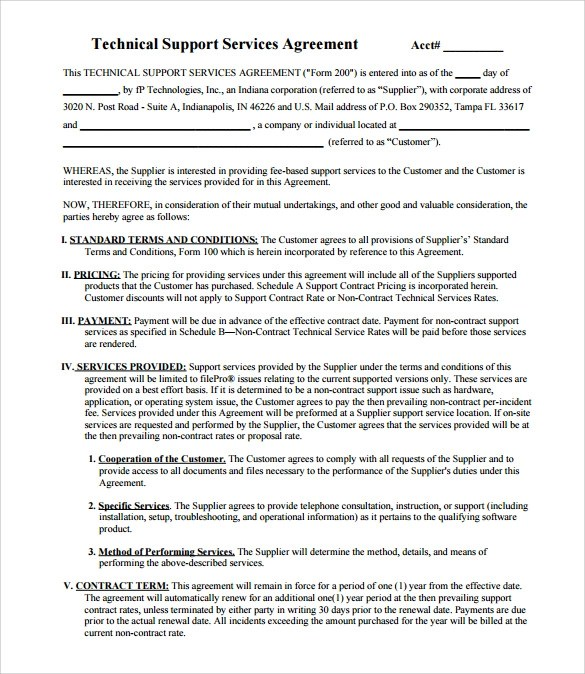 Software Support Agreement Template - mandegarinfo - it support contract template