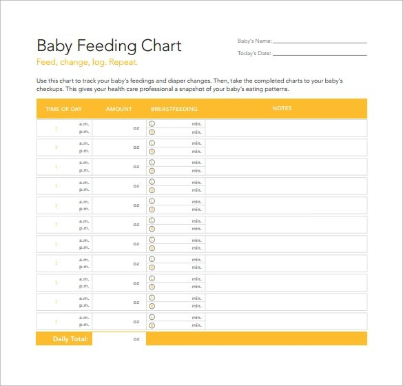 Newborn Infant Fever Free 7 Sample Baby Feeding Chart Templates In Pdf