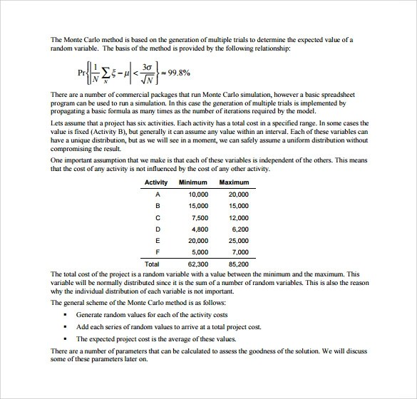 Sample Monte Carlo Simulation Template - 11+ Free Documents in PDF, Word