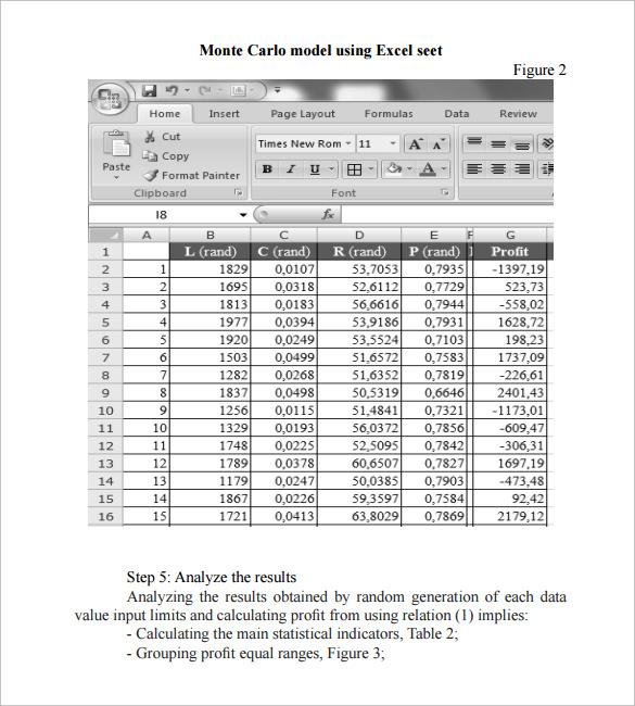 Monte Carlo Simulation Template Monte Carlo Simulation Template