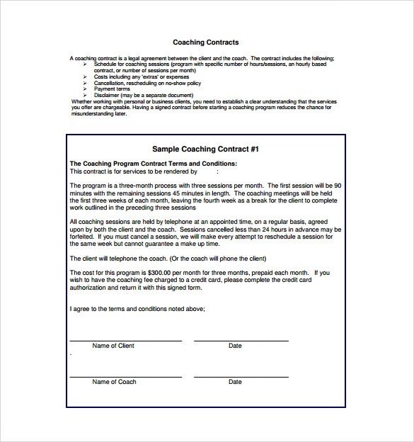 13 Coaching Contract Templates to Download for Free Sample Templates - contract templates in pdf
