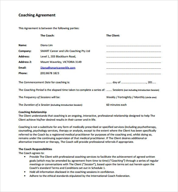 13 Coaching Contract Templates to Download for Free Sample Templates
