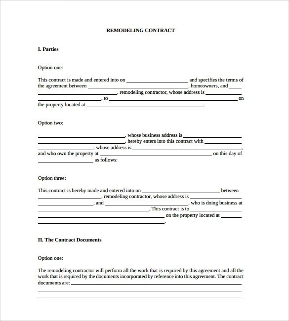 free remodeling contract forms - Ozilalmanoof