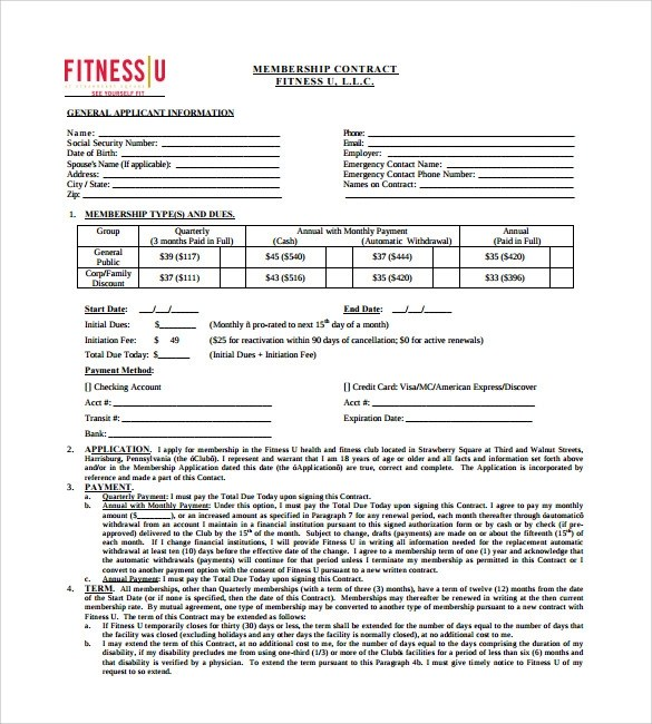 10+ Gym Contract Templates - Pages, Word, Docs