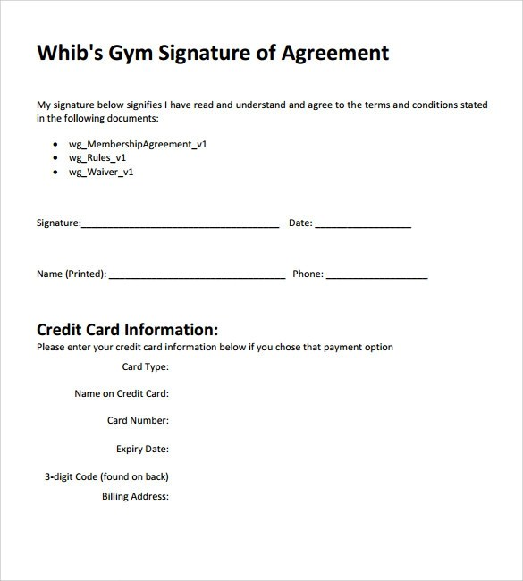 gym contract sample Gym Contract Template. Gym Fitness Center Membership Application ...