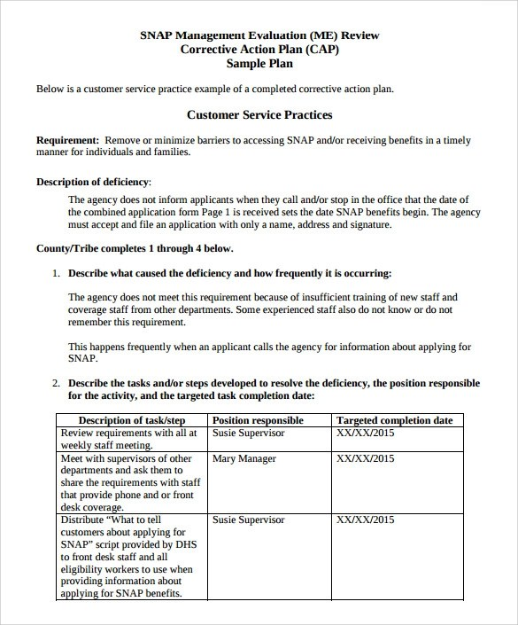Sample Corrective Action Plan Template - 12+ Documents in PDF , Word - action form in pdf