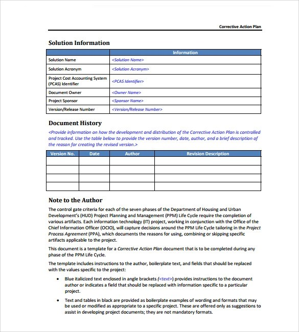 13 Corrective Action Plan Templates to Download for Free Sample