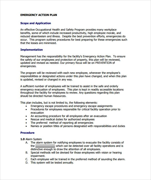 sample emergency action plan template - Example Of An Action Plan Template