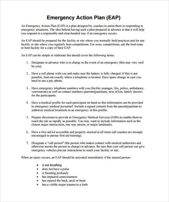 sample emergency action plan template