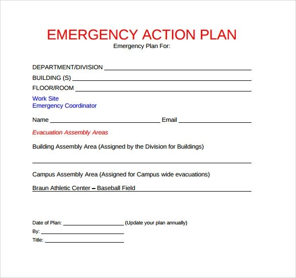 11+ Sample Emergency Action Plan Templates Sample Templates - emergency action plan template