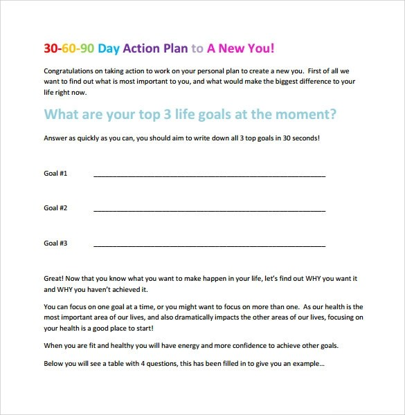 sample action plan template word - sample personal action plan