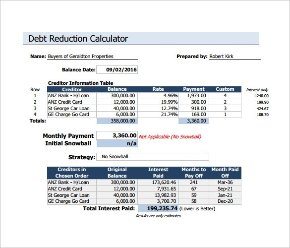 Sample Debt Reduction Calculator - 6+ Documents in PDF, Excel - debt payoff calculator