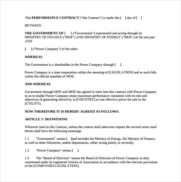 Performance Contract Templates Music Performance Contract - Performance contract template