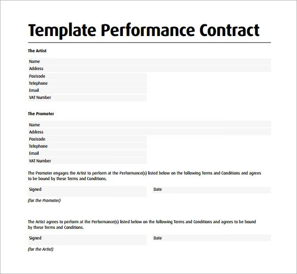 12 Performance Contract Templates to Download for Free Sample